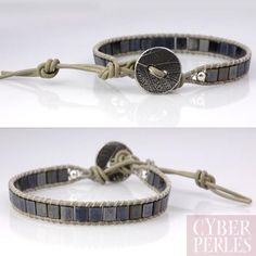 Tila beads and greek leather Chan Luu style wrap bracelet.  Bracelet wrap perles tila, cuir grec, bouton argenté.