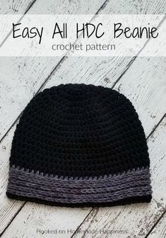 Easy All HDC Beanie Pattern - The Easy All HDC Beanie Crochet Pattern is just that. easy & all HDC! I think half double crochet is my favorite basic stitch. There are just so many ways you can make it textured and interesting. Hdc Crochet, Crochet Crafts, Double Crochet, Crochet Hooks, Crochet Projects, Crochet Tutorials, Crochet Ideas, Mens Crochet Beanie, Crochet Beanie Pattern