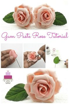Here is a an easy to make gum paste rose tutorial that comes with detailed step by step guidance and images. Also included are step by step instructions to make and dust gumpaste rose leaves. Fondant Rose Tutorial, Fondant Figures Tutorial, Sugar Flower Tutorial, Resin Tutorial, Fondant Flower Cake, Fondant Bow, Flower Cakes, Cake Icing, Sugar Paste Flowers