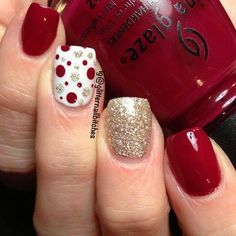 Beautiful winter nails, Festive nails, January nails, Nails with gold, New year…
