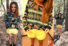 Stella Mc Cartney Knit Aztec Print Sweater, Primark Pastel Yellow Shorts, Dr. Martens Black Boots