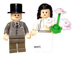 LEGO BRIDE AND GROOM MINIFIGURE PINK FLOWERS CHOICE HAIR COLOUR | eBay
