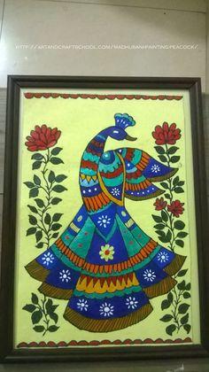 Madhubani painting peacock - Art from my heart Gond Painting, Mandala Painting, Mural Painting, Fabric Painting, Acrylic Paintings, Madhubani Paintings Peacock, Kalamkari Painting, Madhubani Art, Indian Artwork