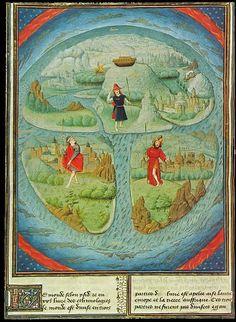 Simon Marmion, Map of the World, c. 1459–1463, in Fleur des histoires, Jean Mansel . Brussels, Bibliothèque royale Albert I, Ms 9231, fol. 281v.