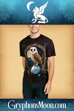 The Spell Keeper T-Shirt - Pale plumage and a compelling gaze lend an aura of mystery to this nocturnal visitor, as he perches atop a clear crystal ball. What visions has he seen in its depths? Black t-shirt. Based on artwork by Lisa Parker. T-shirts are 100% cotton, and are printed with environmentally safe, water-based inks. #Owl #OwlTShirt #TShirt #Fantasy #WitchWear #WitchyWear #PaganShop #WitchShop Crystal Ball, Clear Crystal, Pagan Shop, Lisa Parker, Witch Shop, Owl T Shirt, Great Father's Day Gifts, Pentacle, Fathers Day Gifts