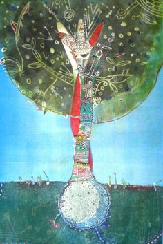 Fumiko Toda I've Been There blue sky 38x28 etching and monotype