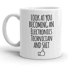 Look At You Becoming An Electronics Technician And Shit Funny HVAC Technician Gift Great for Heating and Cooling Student Graduation Profession Ventilation and Air Conditioning Gag Coffee Cup Idea >>> (paid link) You can find out more details at the link of the image. Funny Coffee Mugs, Coffee Humor, Look At You, Are You The One, Cheap Christmas Stockings, Office Holiday Party, Christmas Stocking Stuffers, Ceramic Materials, Heating And Cooling
