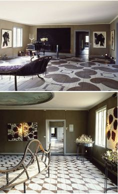 Look at these beautiful painted floors. The historic rooms are part of Gunillaberg estate recently acquired by Danish floral designer, Tage Andersen.