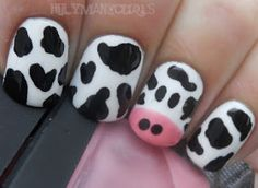 Cow nails, I'm doing this when I do my nails next. Nails Opi, Jolie Nail Art, Cow Appreciation Day, Et Tattoo, Cow Nails, Nails For Kids, Funky Nails, Cute Nail Designs, Creative Nails