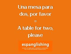 Espanglishing | free and shareable Spanish lessons = lecciones de Inglés gratis y compartibles: Una mesa para dos, por favor = A table for two, please