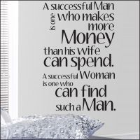 A Successful man is one who makes more money That his wife can spend. A Successful woman is one who can find such a man Wall Sticker, Wall Decals, Make More Money, How To Make, Motivational Wallpaper, Successful Women, Wall Quotes, Woman Quotes, Thoughts