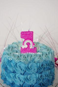 Hot Pink Rainbow Glitter Birthday Candle