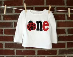 ladybug birthday shirt for girls, toddler or baby, hand appliqued ladybug outfit for first, second, fourth birthday on Etsy, $25.00