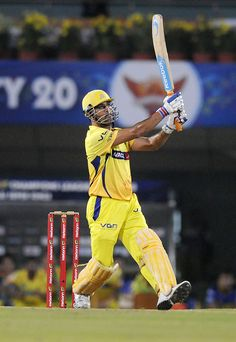 Mahendra Singh Dhoni hits a six against Sunrisers Hyderabad on Thursday