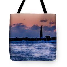 "Thacher Island lighthouse sea smoke Tote Bag 18"" x 18"""