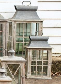 outdoor lanterns. These would be a good way to warm up an outdoor porch.