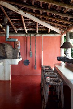 Bungalows, Flooring For Stairs, Natural Homes, Restaurant Concept, Home Office Organization, Natural Building, Tropical Houses, Rustic Kitchen, Rustic Style
