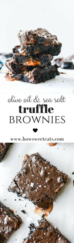 olive oil and sea salt truffle brownies by /howsweeteats/ I… No Bake Desserts, Just Desserts, Delicious Desserts, Dessert Recipes, Yummy Food, Lindt Truffles, Brownie Bar, How Sweet Eats, Brownie Recipes