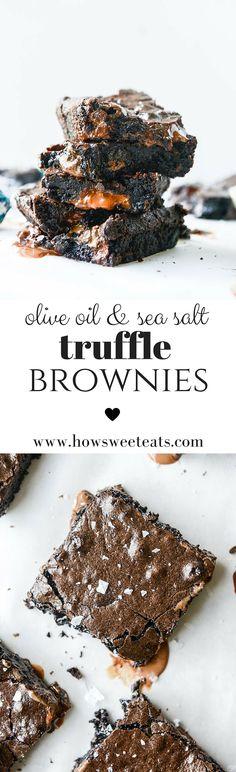 Olive Oil Sea Salt Truffle Brownies I howsweeteats.com @howsweeteats