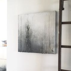 "The title for this one came as a whisper ""I'm Good, It's Just That My Wing is Caught,"" she said. 24x24, part of the exhibit @whiterockgallery May 5&6 #contemporaryart #abstractart #grey #white #decor #texture"
