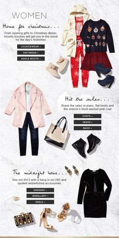Women's style for xmas day, boxing day and NYE