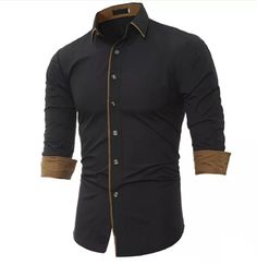 Cheap camisa masculina, Buy Quality black mens dress shirts directly from China men brand dress shirt Suppliers: Men Shirt Brand 2017 Male High Quality Long Sleeve Shirt Casual Solid color Slim Fit Black Man Dress Shirts camisa masculina Formal Shirts, Casual Shirts For Men, Men Casual, Long Sleeve Hawaiian Shirt, Long Sleeve Shirts, Long Shirts, Business Shirts, Branded Shirts, Business Men