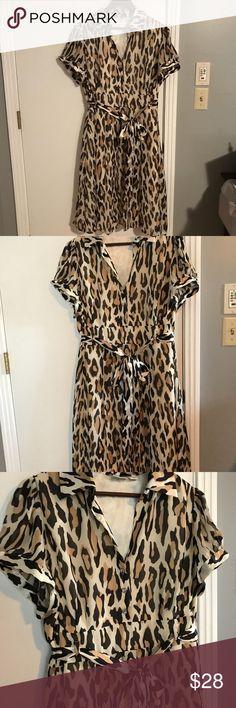 18W Cato leopard dress Sheer leopard fabric overlay cream silky material. 18W. Cato Dresses