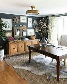 wall color for office. Home Office With Layered Rugs (jute And Cowhide) Eclectic Art Gallery Against Charcoal Walls Wall Color For