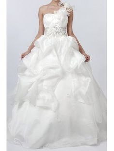 Great Satin and Tulle One Shoulder Floor Length Ball Gown Wedding Dress Ball Gown Wedding Dresses Pinterest Ball gowns Wedding dress and Gowns