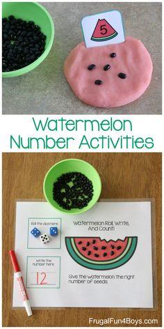 Watermelon Printable Math Activities for Pre-K and Kindergarten - Frugal Fun For Boys and Girls Numeracy Activities, Kindergarten Math Activities, Preschool Activities, Montessori Math, Pre K Math Worksheets, Montessori Elementary, Homeschool Math, Homeschooling, Math For Kids