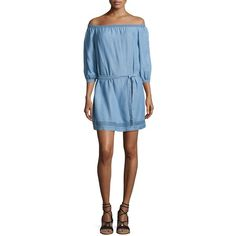 Paige Denim Beatrice Off-the-Shoulder Chambray Dress ($219) ❤ liked on Polyvore featuring dresses, indigo, off shoulder dress, blue mini dress, blue off shoulder dress, blue 3 4 sleeve dress and short dresses