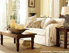 pottery barn living room ideas -like the furniture and accessories, and the French door curtains