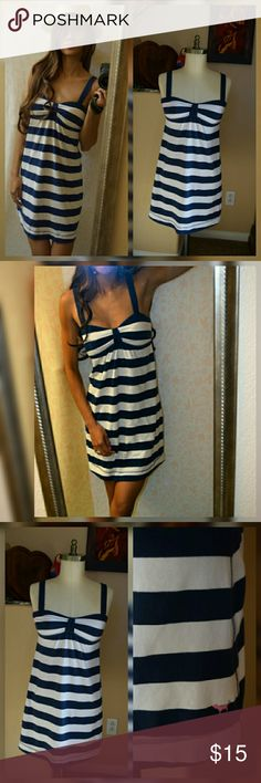 VS PINK- Blue and White Stripe Dress Yesss!! It's finally spring!! Ladies, bikini season is upon us! Get ready for that pool, lake and beach fun with this navy striped dress from Victoria's Secret PINK. This nautical style dress will make you insta-stylish for all your water fun activities. PINK Victoria's Secret Dresses Mini