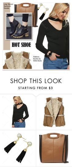 """Openwork Sweater"" by paculi ❤ liked on Polyvore featuring Hollister Co. and Maje"