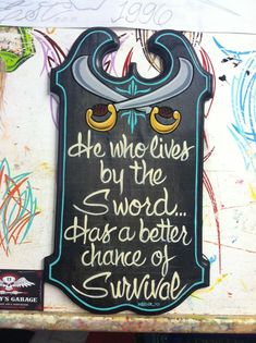 Live By The Sword, Garage Art, Pinstriping, Hand Painted Signs, Trending Outfits, Jeep, Handmade Gifts, Etsy Seller, Lettering