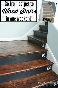 Removing carpet from stairs and replacing it with wood stair treads is totally doable. This DIY staircase makeover was accomplished in a weekend and looks like a professional job! Proof that a staircase remodel can be a DIY job. Removing Carpet From Stairs, Wood And Carpet Stairs, Wood Stair Treads, Replacing Stair Treads, Banisters, Painted Stair Risers, Railings, Painted Plywood Floors, Painted Staircases