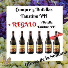 ¡¡ OFERTA DE LA SEMANA !! La OFERTA comprende 5 Botellas de Vino FAUSTINO VII Tinto 75 cl. + REGALO 1 Botella de Vino FAUSTINO VII Tinto 75 cl. Válida hasta el Domingo 05/02/2017 o hasta Fin de Existencias. http://tienda.bottleandcan.es/es/  #tiendaonline #gourmet #bottleandcan #granada #andalucia #españa #spain +Bodegas Faustino-Grupo Faustino #oferta #ofertas #regalo