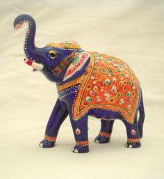 A vintage colorful Meena work Elephant Figurine by HandmadeHouse3