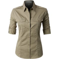 LE3NO PREMIUM Womens Easy Care Roll Up Sleeve Twill Button Down Shirt ($28) ❤ liked on Polyvore featuring tops, roll top, brown tops, brown button down shirt, wet look top and button-down shirts