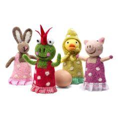 Lustige Tiere Eierwärmer Aufsteller Filzaufsteller Frosch Schwein rosa Hase Ente 4 Stück Filz Aufsteller Froschkönig