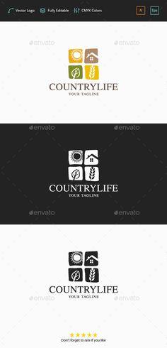 Country Life Logo: Symbol Logo Design Template created by flatos. Vector Logo Design, Logo Design Template, Logo Templates, Logo Branding, Logos, Construction Company Logo, Resort Logo, Agriculture Logo, Sun Logo