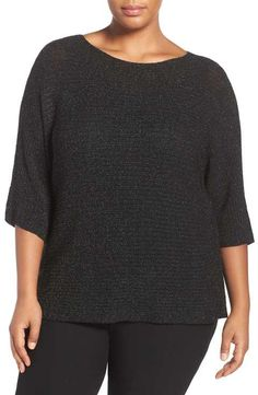 Eileen Fisher Bateau Neck Shimmer Merino Blend Top (Plus Size)