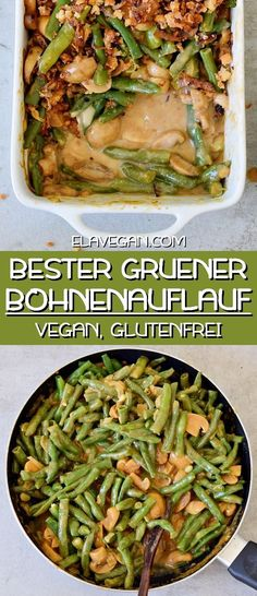 Creamy and flavorful vegan green bean casserole. This simple holiday recipe is made from scratch, it is plant-based, gluten-free, healthy, and easy to make. Homemade Green Bean Casserole, Healthy Green Bean Casserole, Healthy Green Beans, Classic Green Bean Casserole, Vegan Casserole, Green Beans With Bacon, Greenbean Casserole Recipe, Healthy Casserole Recipes, Parmesan Green Beans