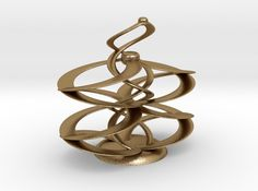 Infinity (small) 3D printed Sculptures and Mathematical Art 3D Printed in Polished Gold Steel.