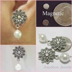 MAGNETIC Earrings ,Gorgeous Flower, White 10 mm Round Faux Glass Pearls ,Drop,DANGLE Non-Pierced, Silver Plated Pewter, Handmade #MAG113