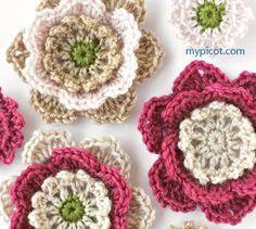 Flower crochet pattern - diagram and step by step instructions by MyPicot | Free crochet patterns ✿⊱╮Teresa Restegui http://www.pinterest.com/teretegui/✿⊱╮