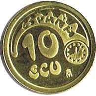 Moneda de oro 10 ECU. Plus Ultra 1989.