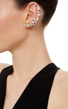 Rhodium Plated Swarovski Crystal Ear Cuff with Stud - Ryan Storer Resort 2016 - Preorder now on Moda Operandi