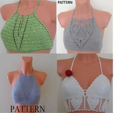 Crochet Shorts Pattern, Crochet Halter Tops, Crochet Bikini Top, Knit Crochet, Crochet Patterns, Crotchet, Loom Knitting, Top Pattern, Crochet Clothes