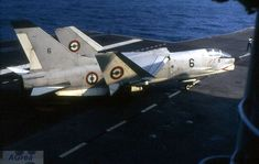 Vought Crusader of French Navy 12F-6 is seen here on the Foch in 1970.